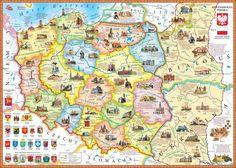 Polish Language, Kids Education, Vintage World Maps, Folklore, Homeschooling, Traditional, Geography, Poland, Historia
