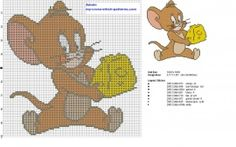 Jerry is running with cheese from Tom and Jerry cross stitch pattern