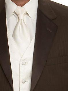 ivory vest & brown tux
