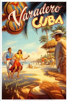 Cuba. Vintage travel poster for Varadero.