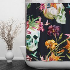 Skull Shower Curtain Watercolor Lilly Skull Shower by InkandRags