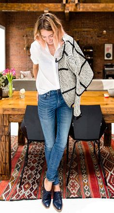 Tory Burch statement jacket-I need this! Love how the outfit is styled to make this jacket centre stage