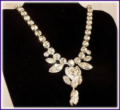 Exquisite Eisenberg Rhinestone Bridal Necklace ~ Long Drop  by MarlosMarvelousFinds