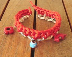 Braided chain bracelet with red satin cord magnesite by craftysou, $16.00
