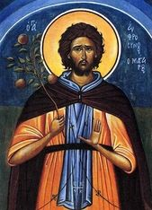 Orthodox icon of Saint Ephrosynos, Efrosynos the Cook, Protector of cooks