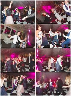 Night time partying shots on the dance floor with flash and shutter drag