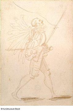 Artist: Graf, Urs, Title: Bannerträger mit grossem Federhut, nach rechts schreitend, Dage: ca. 1520-1521