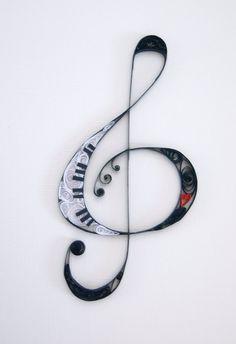 original DIY greeting card ideas music sheets treble clef quilling ideas