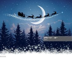 Christmas Night illustration of Santa Claus and his sleigh. Christmas Night, Christmas Scenes, The Night Before Christmas, Christmas Art, Vintage Christmas, Father Christmas, Night Illustration, Christmas Illustration, Christmas Background