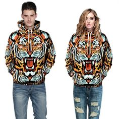 2015 fashion streetwear tiger sweatshirt 3D couple hooded hoodies causal winter harajuku high quality sweatshirt sport moletom