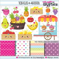 Fruit Clipart, Fruit Graphics, COMMERCIAL USE, Kawaii Clipart, Food Graphics, Fruits, Planner Accessories, Meal, Food Party, Fruit Party