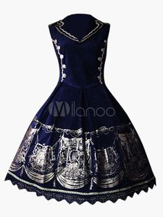 Classic Blue Terry Suit Collar Sleeveless Lolita Dress $108.99 AT vintagedancer.com