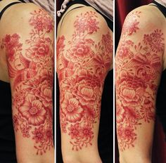beautiful no outline red floral arm tattoo
