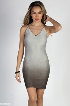 """""""Miss Steele"""" Silver Metallic Pinstripe Ombre Mini Dress Trendy Dresses, Club Dresses, Sexy Dresses, Mini Dresses, Sequin Dress, Bodycon Dress, Silver Ombre, Lovely Legs, Club Outfits"""