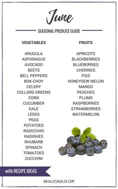 What's in Season JUNE Produce Guide is a collection of best HEALTHY recipes featuring seasonal fruits and veggies for the month JUNE. #seasonal #spring #summer #fruit #vegetables #guide #healthy #produce #food #june #recipes   NATALIESHEALTH.com