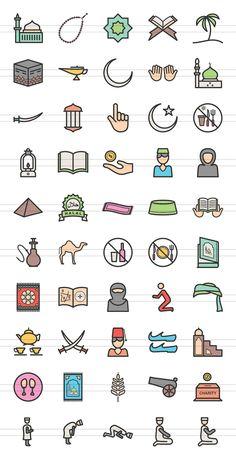 50 Islamic Line Filled Icons Diy Phone Case Design, Eid Mubarak Stickers, Offering Prayer, Filofax, Cartoon Girl Images, Eid Cards, Islamic Cartoon, Islam For Kids, Religious Books