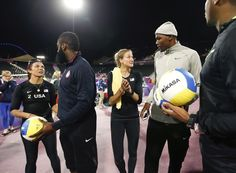 United States' Kerri Walsh and Misty May-Treanor chat with NBA basketball players James Harden, second from left, Kevin Durant and Carmelo Anthony after a beach volleyball match against Austria - Funky Olympians 2012 - FUNK GUMBO RADIO: http://www.live365.com/stations/sirhobson and https://www.funkgumbo.com