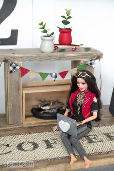 A fireplace from 2x4 chunks / Make free dollhouse furniture from wood scraps! By Funky Junk Interiors for Ebay.