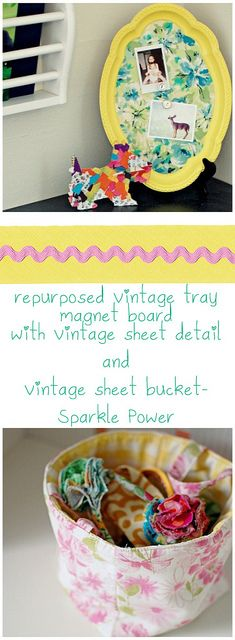 repurposed tray with vintage sheet