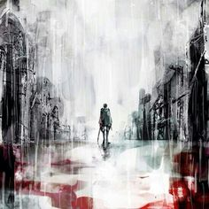 Levi Ackerman, raining, blood, sad; Attack on Titan