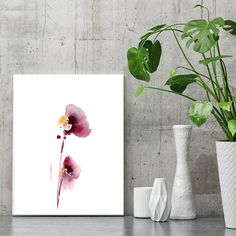 Download powerpoint templates themes and backgrounds child minimalist abstract flowers fine art print watercolor painting modern wall art white background mi toneelgroepblik Choice Image