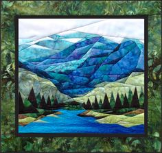 """Smokey Mountains - NEW Form of Foundation Paper Piecing (Picture Piecing) Pattern - 17 1/4"""""""" x 19"""""""" Quilt Block"""
