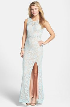 Free shipping and returns on Way-In Embellished Lace Gown (Juniors) at Nordstrom.com. Glitter-kissed lace lends subtle shimmer to a stunning gown styled with a soaring slit and a crystal-embellished waist.