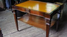 Antique Coffee Tables W Leather Inlay 83 1950 S Vintage