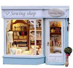 Dollhouse Miniature DIY Kit w Light Sewing Store Tailor Dress Shop Europe Travel | eBay