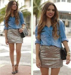 Spin Gallery Denim Shirt, Sole Society Shoes, Furor Mdoa Sequin Skirt, Chanel Bag