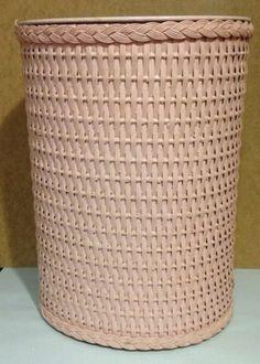 Vintage-Pink-Wicker-wastebasket-trash-can-with-metal-lining