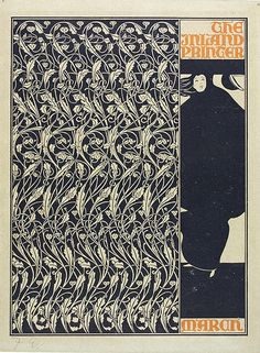 Will H. Bradley (1868-1962) Cover for 'The Inland Printer' 1896 Line block print Museum no. E.3033-1921  The Artist Will Bradley, the self-styled 'Dean of American Typographers', was one of the USA's foremost graphic designers. His work was exhibited in Paris along with that of Mucha, Lalique and other European artists. He shared many of their influences, and was the only American graphic artist to have developed a significant Art Nouveau style.