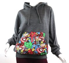 Super Hero Marvel Comic Patched Unisex Pullover by UnpluggedStudio