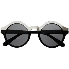 Sleek Two Tone Retro Style Women Round Sunglasses Shades r59 (€18) ❤ liked on Polyvore featuring accessories, eyewear, sunglasses, two-tone sunglasses, retro style glasses, retro glasses, round frame sunglasses and two tone glasses