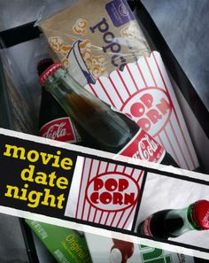 Movie Date Night:  Idea for a stay-at-home date in a box.  Cute idea with ways to save money!