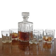 Sparta Whiskey Decanter and Glasses, 7-Piece Set, from HomeWetBar.com
