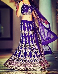 love the purple, hate the belly and arms purple India wedding sari Indian Attire, Indian Wear, India Fashion, Asian Fashion, Pakistan Fashion, Indian Dresses, Indian Outfits, Indian Clothes, Pakistani Clothing