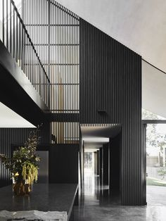 Stone, black steel, exposed brick and charcoal timber slats make up the material palette and rugged beauty of this Melbourne home, designed by Splinter Society Architecture Architecture Design, Australian Architecture, Australian Homes, Residential Architecture, Black Architecture, Origami Architecture, Timber Slats, Timber Panelling, Interior Exterior