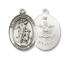 """Amazon.com: Guardian Angel Sterling Silver Medal with 18"""" Sterling Chain Military Medal US Army, Armed Forces. Made in Usa.: Jewelry"""