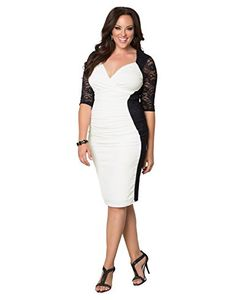 61d698a01b1 Amazon.com  Kiyonna Women s Plus Size Valentina Illusion Dress  Clothing