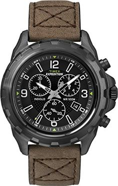 Timex Expedition rugged Chronograph Watch - Brown/Black ** Be sure to check out this awesome watch. Cool Watches, Watches For Men, Timex Expedition, Timex Watches, Men's Collection, Casio Watch, Black And Brown, Cool Things To Buy, Brown Leather