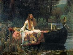 'The Lady of Shalott' by John William Waterhouse; Tate Britain, London I knew that the day that John William Waterhouse was bor. John William Waterhouse, Google Art Project, Romanticism Paintings, Art Paintings, Painting Art, River Painting, Paintings Famous, Famous Artwork, Painting Prints