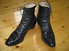 LAURA ASHLEY Vintage Victorian Style Leather Ankle Boots by VINTAGELAURAASHLEY  ---NOW SOLD