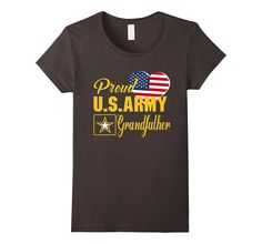 Proud U.S. Army Grandfather Patriotic Heart T Shirt