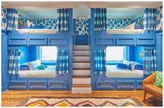 One Room Challenge - Boys Bunk Room - Reveal! - A Storied Style Bunk Bed Designs, Kids Bedroom Designs, Bedroom Ideas, Bunk Beds Built In, Loft Beds, Moroccan Bedroom, Bunk Rooms, Challenge, Look Vintage