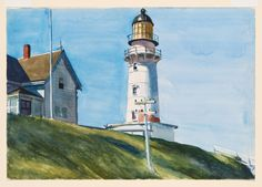 """""""Light at Two Lights,"""" 1927, Edward Hopper. Watercolor and graphite pencil on paper; 13 15/16 × 20 in. (35.4 × 50.8 cm) Whitney Museum of American Art, New York."""