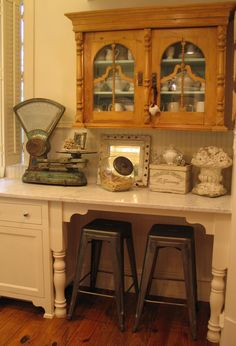 antique upper pine cabinet mixed with new cabinets
