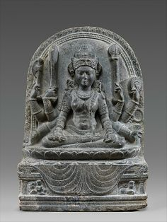 Mahapratisara, the Buddhist Protectress, 10th century. India (Bihar). The Metropolitan Museum of Art, New York. Purchase, Florence and Herbert Irving Gift, 1991 (1991.108) | Female bodhisattvas like this Tara were becoming increasingly important to the Buddhist communities of North India. In her lower left hand she holds a palm leaf manuscript suggesting she may have been understood as a manifestation of this text or the very embodiment of Buddhist ideology. #Buddhism