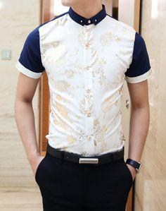 Slimming Trendy Shirt Collar Flower Print Splicing Short Sleeve Cotton Shirt For Men