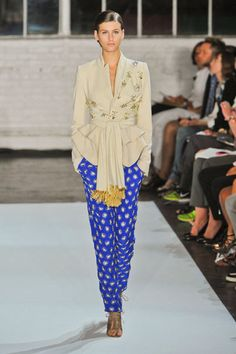 Jacket with printed blue trousers altuzarra spring 2013